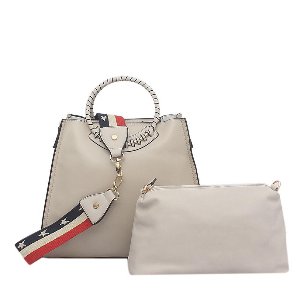Tosoco Off White Leather Handbag Wt Purse