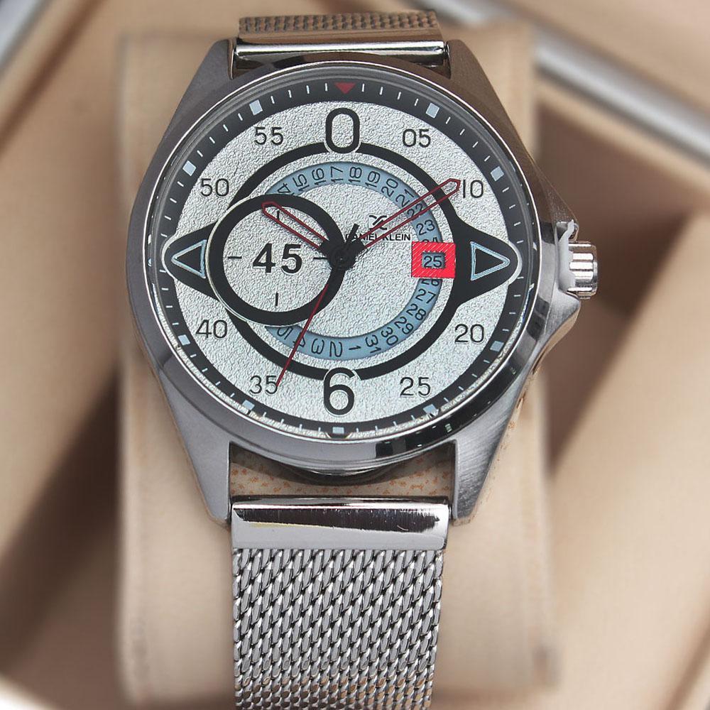 Daniel Klein Agolia Silver White Mesh Watch