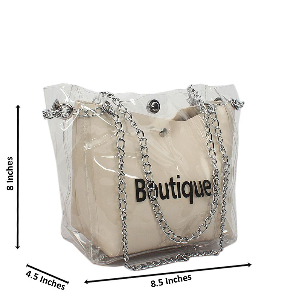 Off-White Transparent Ice Rubber Leather Small Chain Handbag