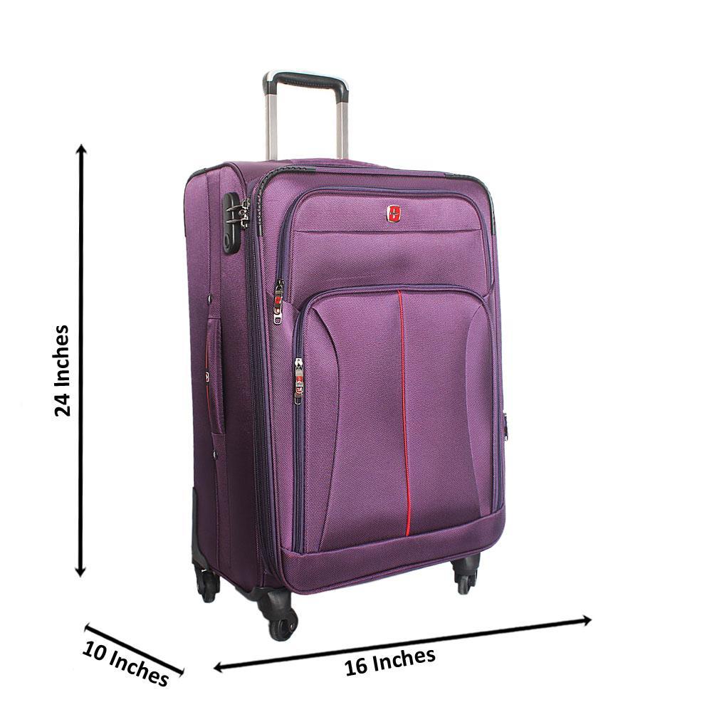 Saint Purple 24 Inch Fabric 4 Wheels Spinners Medium Suitcase