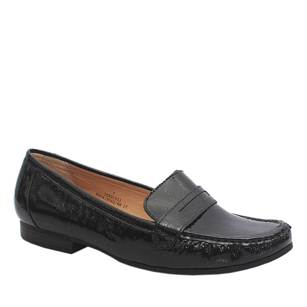 Footglove Navy Patent Leather Ladies Shoe
