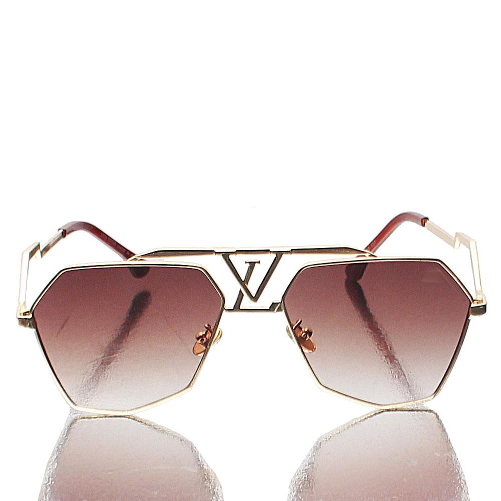 Gold Heptagon Brown Lens Sunglasses