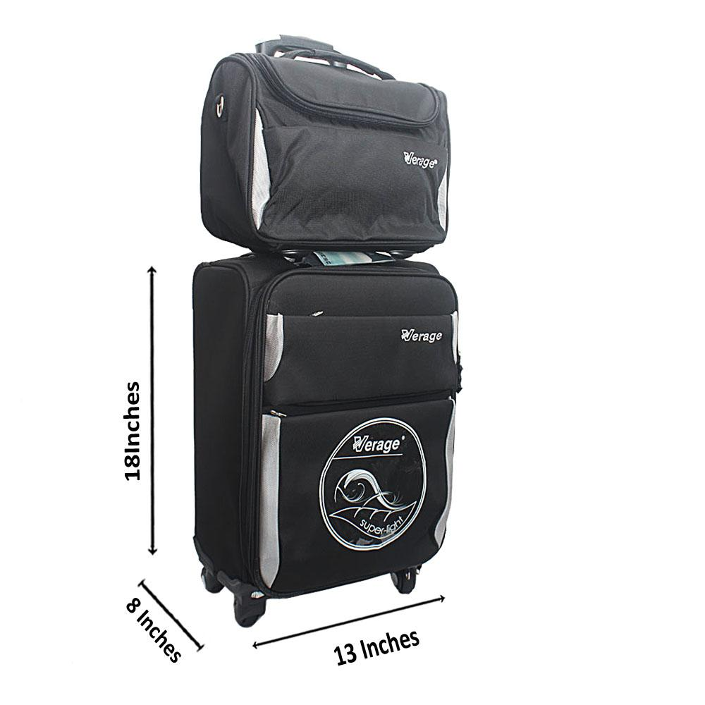 "Verage Black 18"" Premium Cordura Fabric 2 in 1 Suitcase"