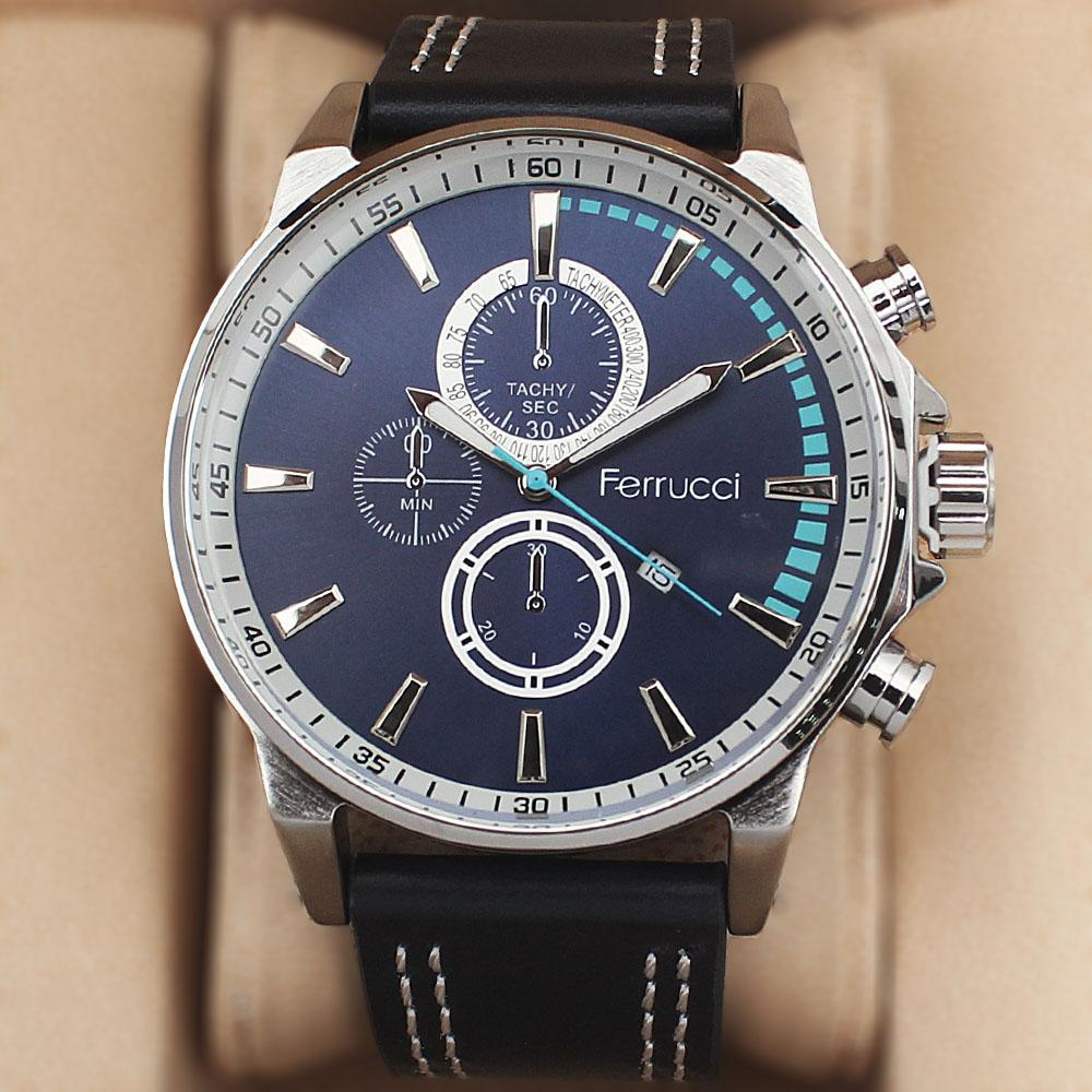 Ferrucci Tachy Navy Leather Watch