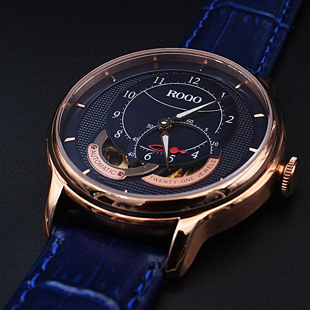 Twenty One Jewel Rose Gold Blue Croc Leather Automatic Watch