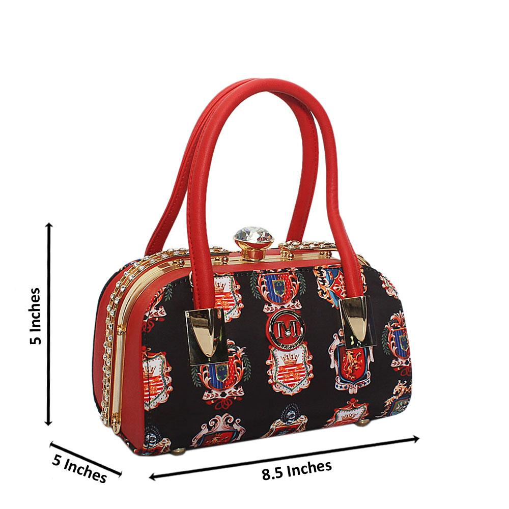 Red Grahpic  Print Fabric Studded Leather Small Tote Handbag