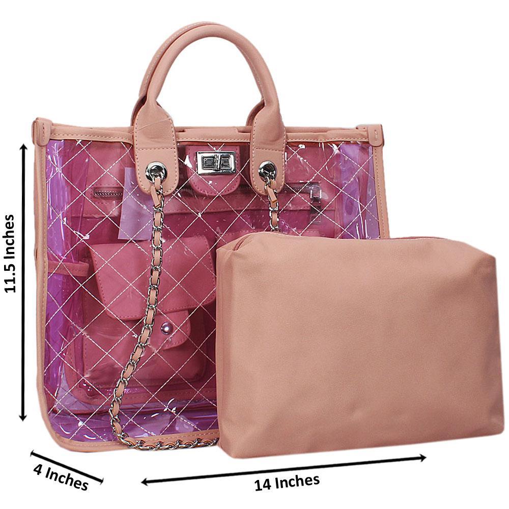Pink Morgan Transparent Rubber Leather Tote Handbag