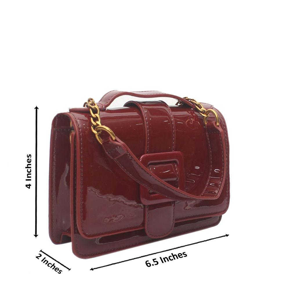 Wine Patent Leather Small Crossbody Bag