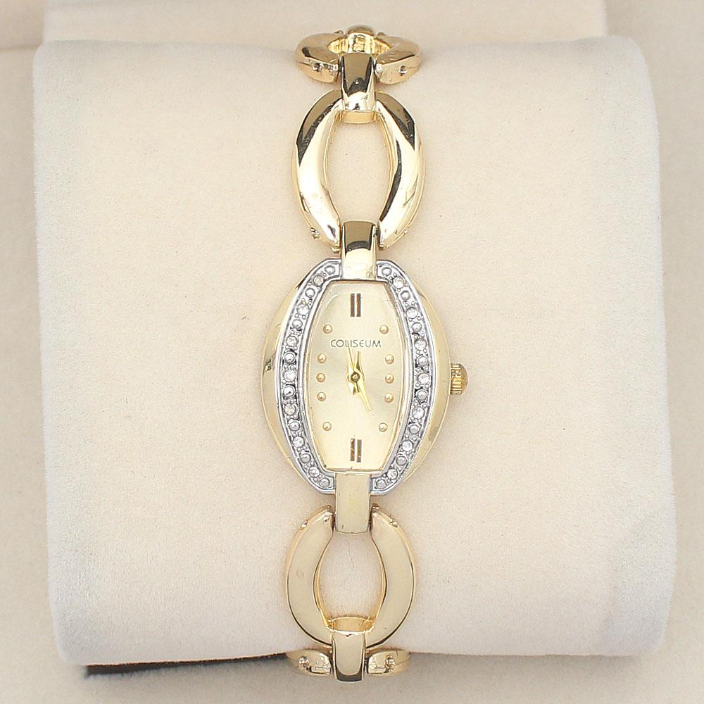 Coliseum Gold Studded Leather Ladies Watch