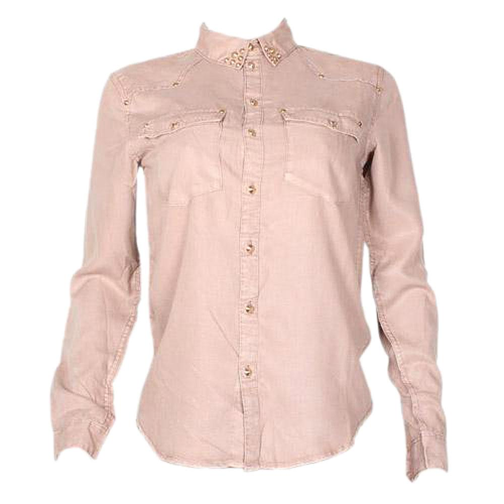 H & M Brown Ladies Cotton L/Sleeve Shirt-UK12