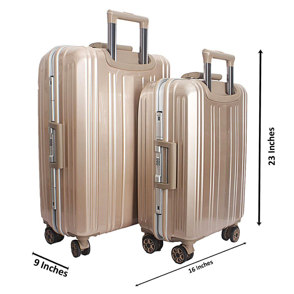 Gold Easy Glider 2-in-1 23 Inch Hardshell Suitcase wt 20 Inch Carry on