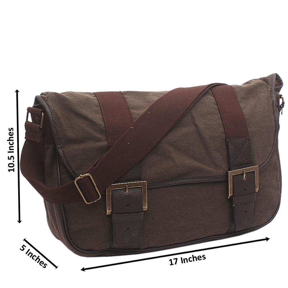 Brown Blue Harbour Fabric Messenger Bag