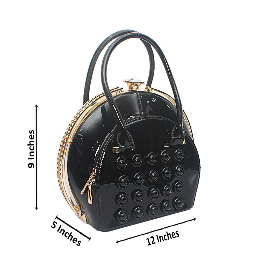Black Studded Patent Leather Handbag