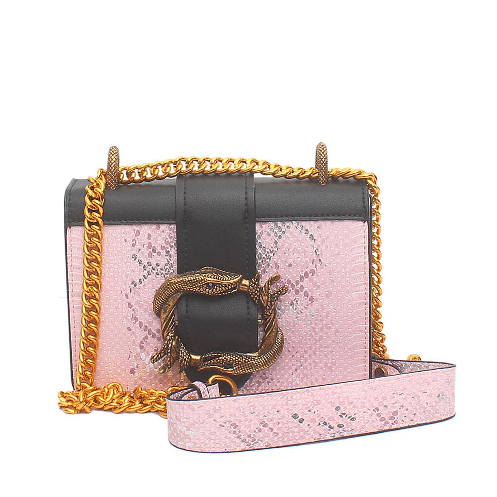 Pink Black Leather Mini Cahier Bag