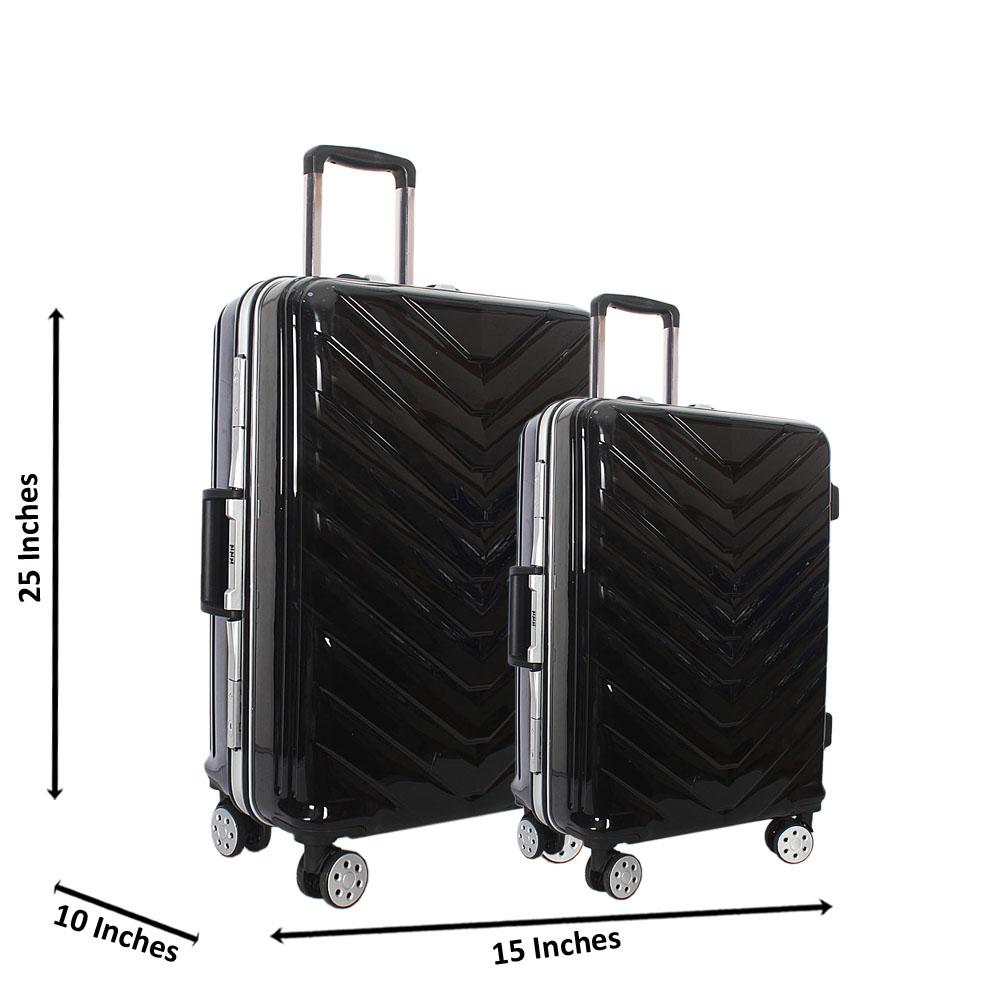 Black 25 inch Wt 20 inch 2 in 1 Hardshell Luggage Set Wt TSA Lock