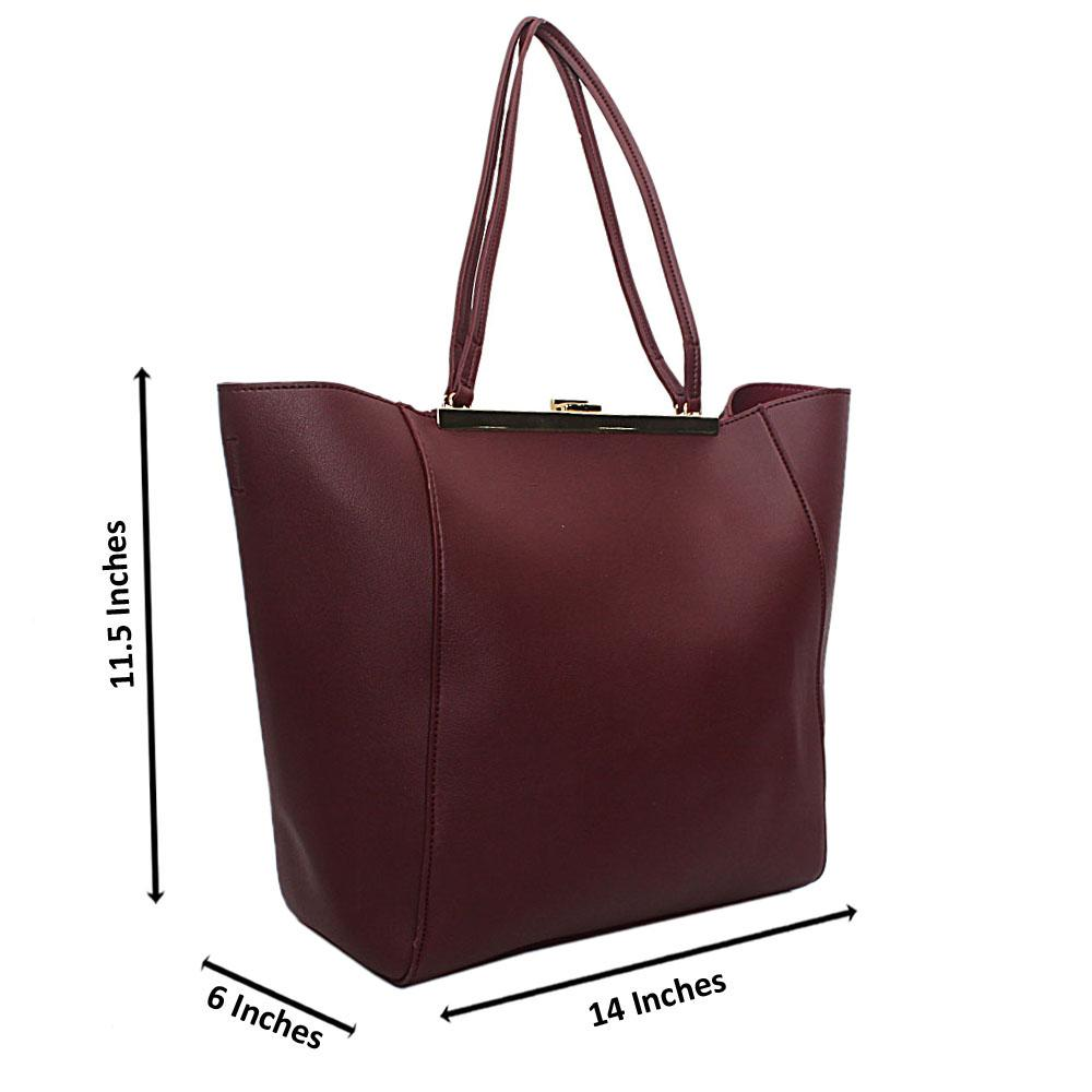 Wine Gold-Trim Saffiano Leather Handbag