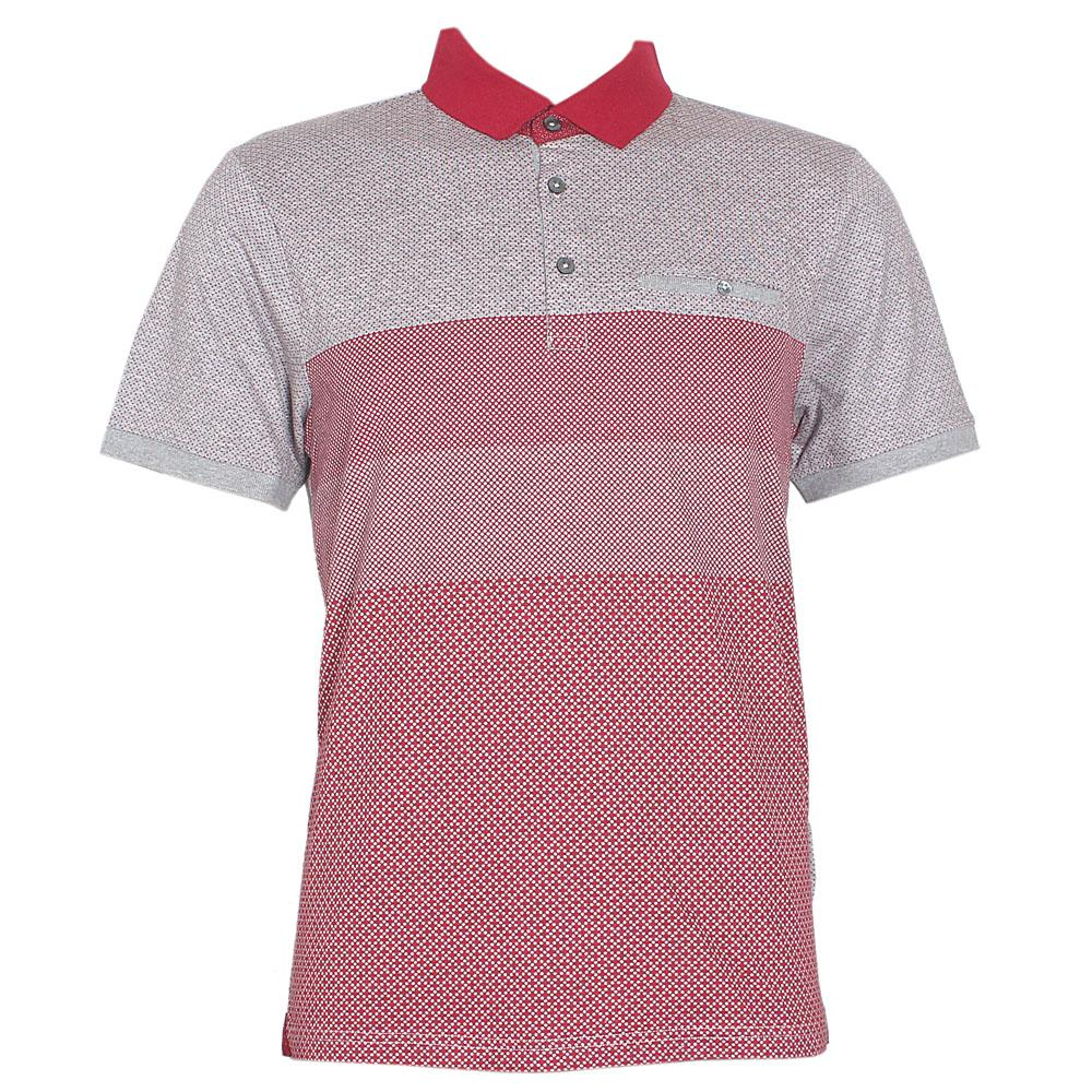 M & S Wine Gray Cotton Tailored Fit S/Sleeve Men Polo