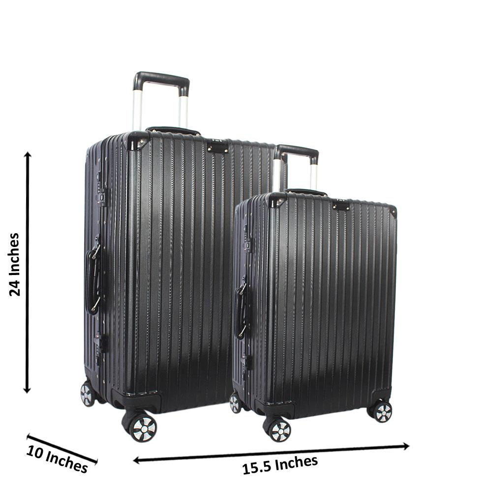 Black 24 inch Wt 20 inch 2 in 1 Hardshell Luggage Set Wt TSA Lock