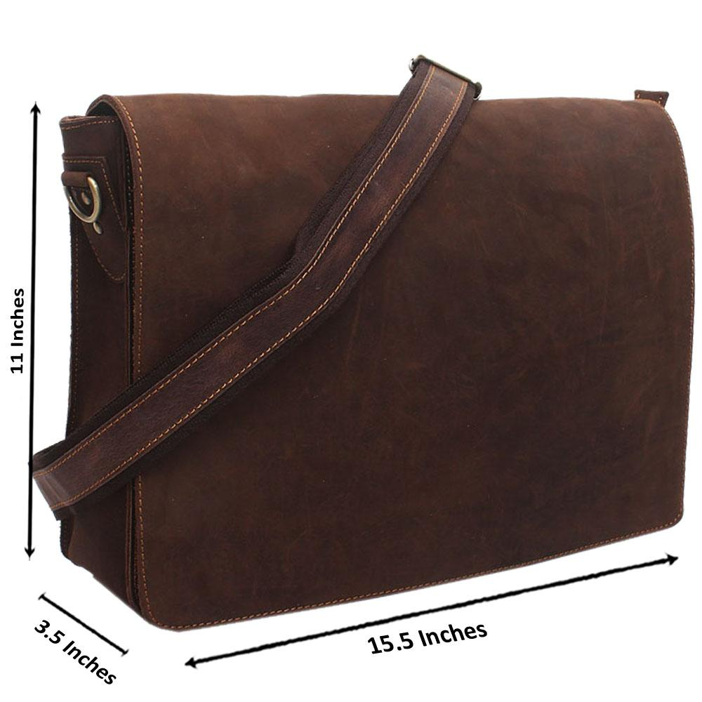 Brown  Zipper Leather Messenger Bag