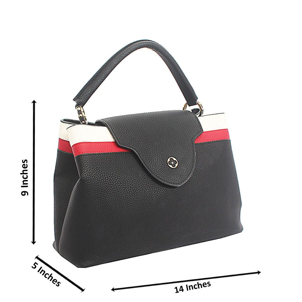 Black Mix Cowhide Leather Top Handle Handbag