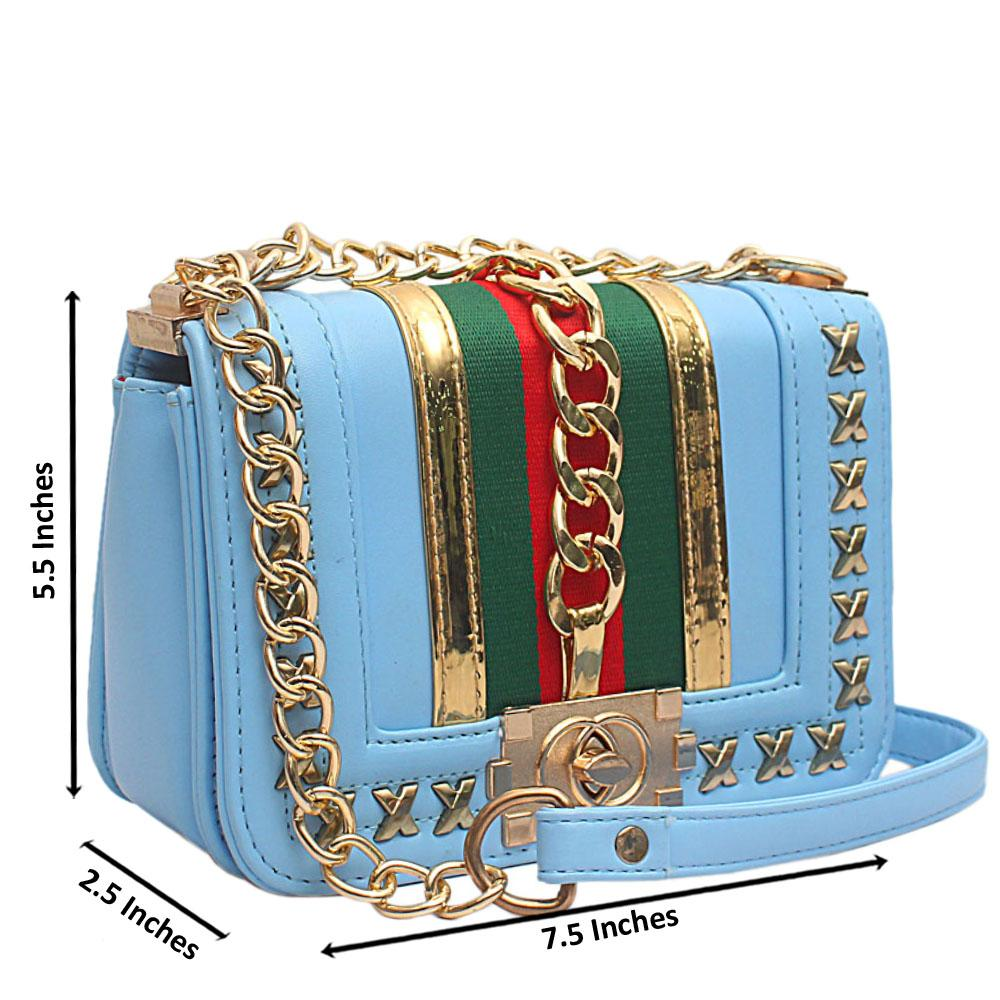 Pretty Sky Blue Leather Mini Bag