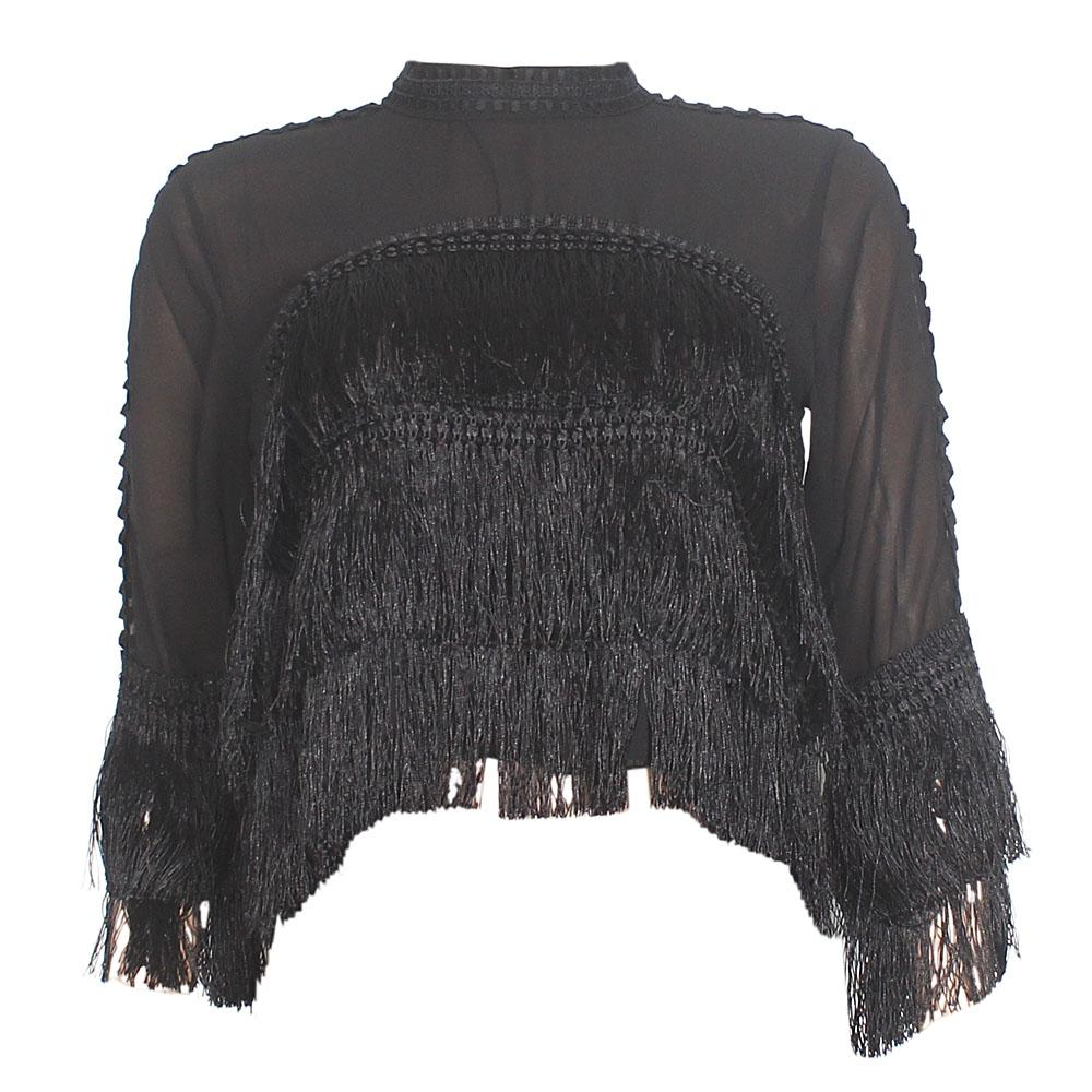 Black See Through Ladies Fringe Crop Top
