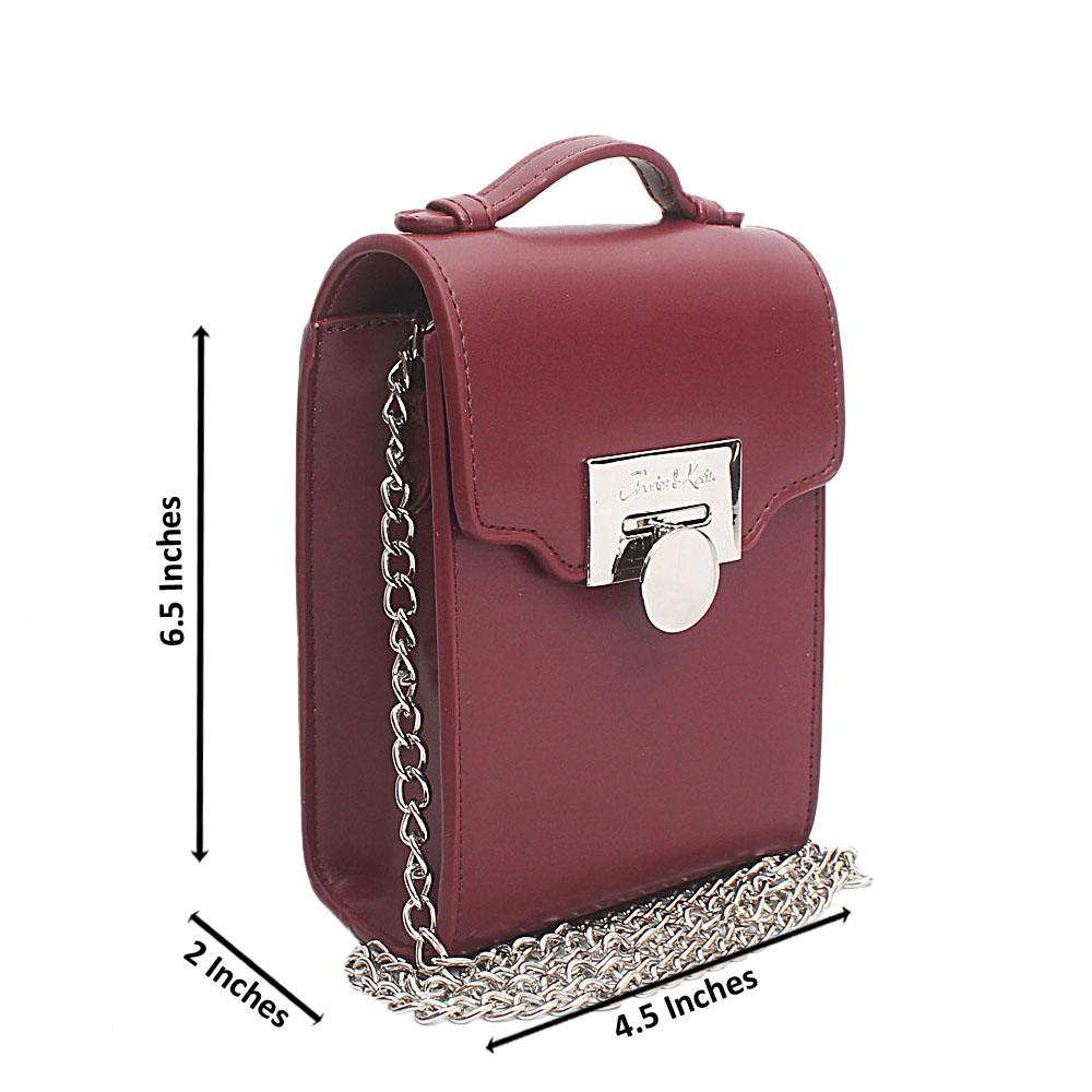 Maroon Leather Mini Bag