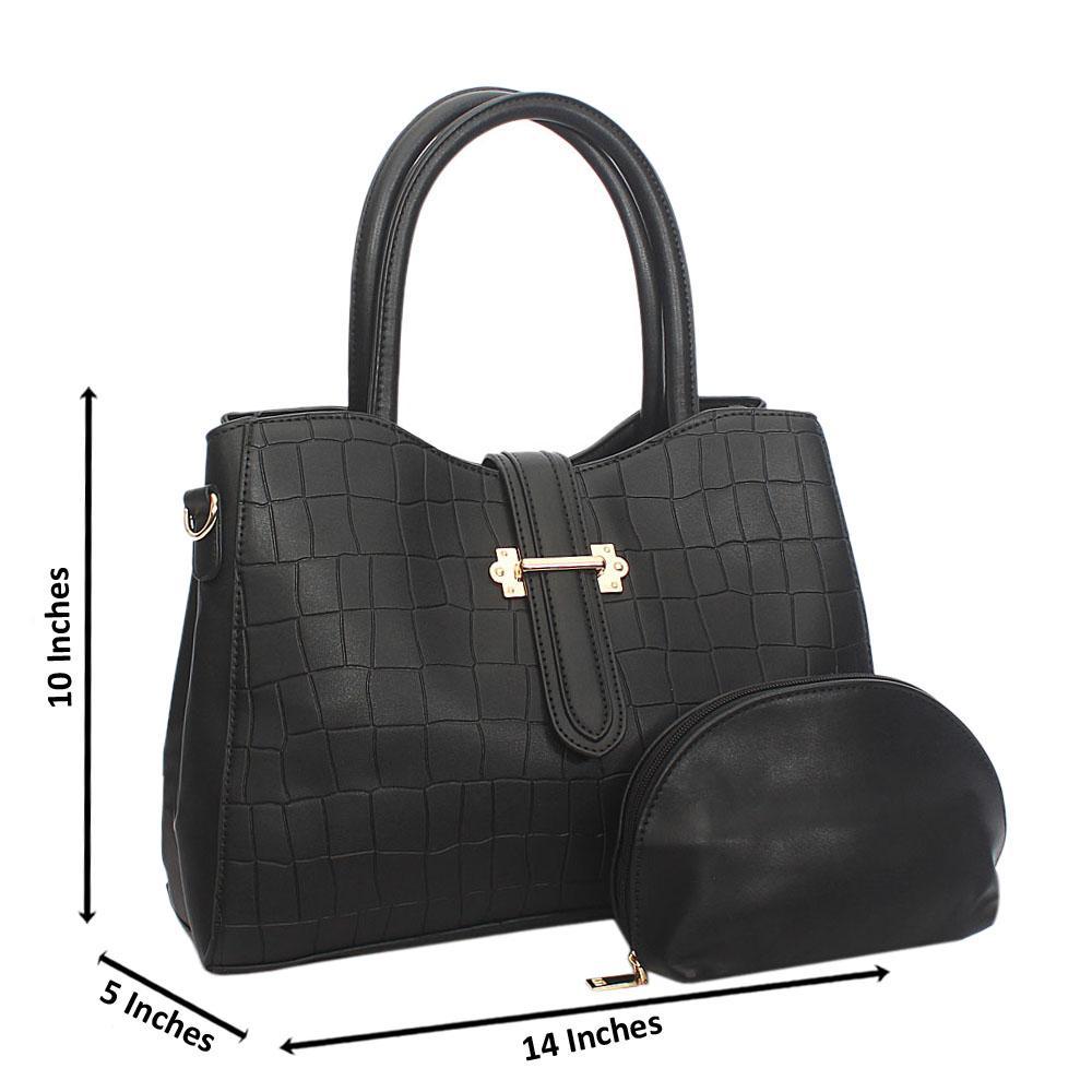 Black Elsie Croc Leather Tote Handbag