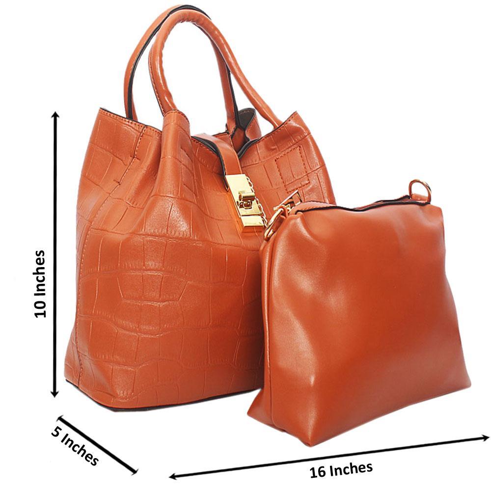 Brown Aniston Croc Leather Tote Handbag