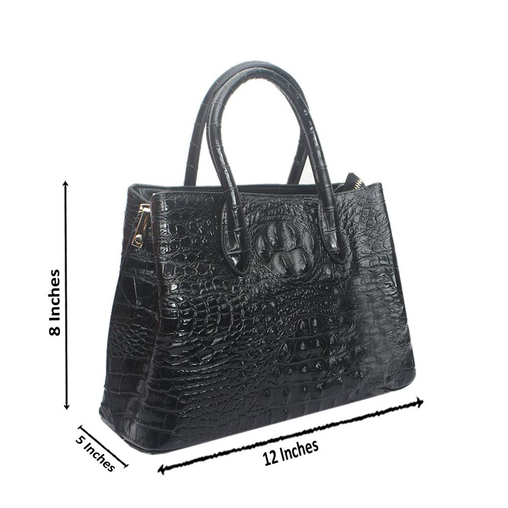 Black Premium Embossed Croc Saffiano LeatherHandbag