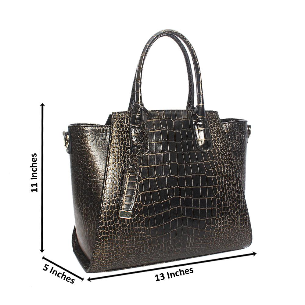 Ariana Gold Black Croc Montana Leather Handbag