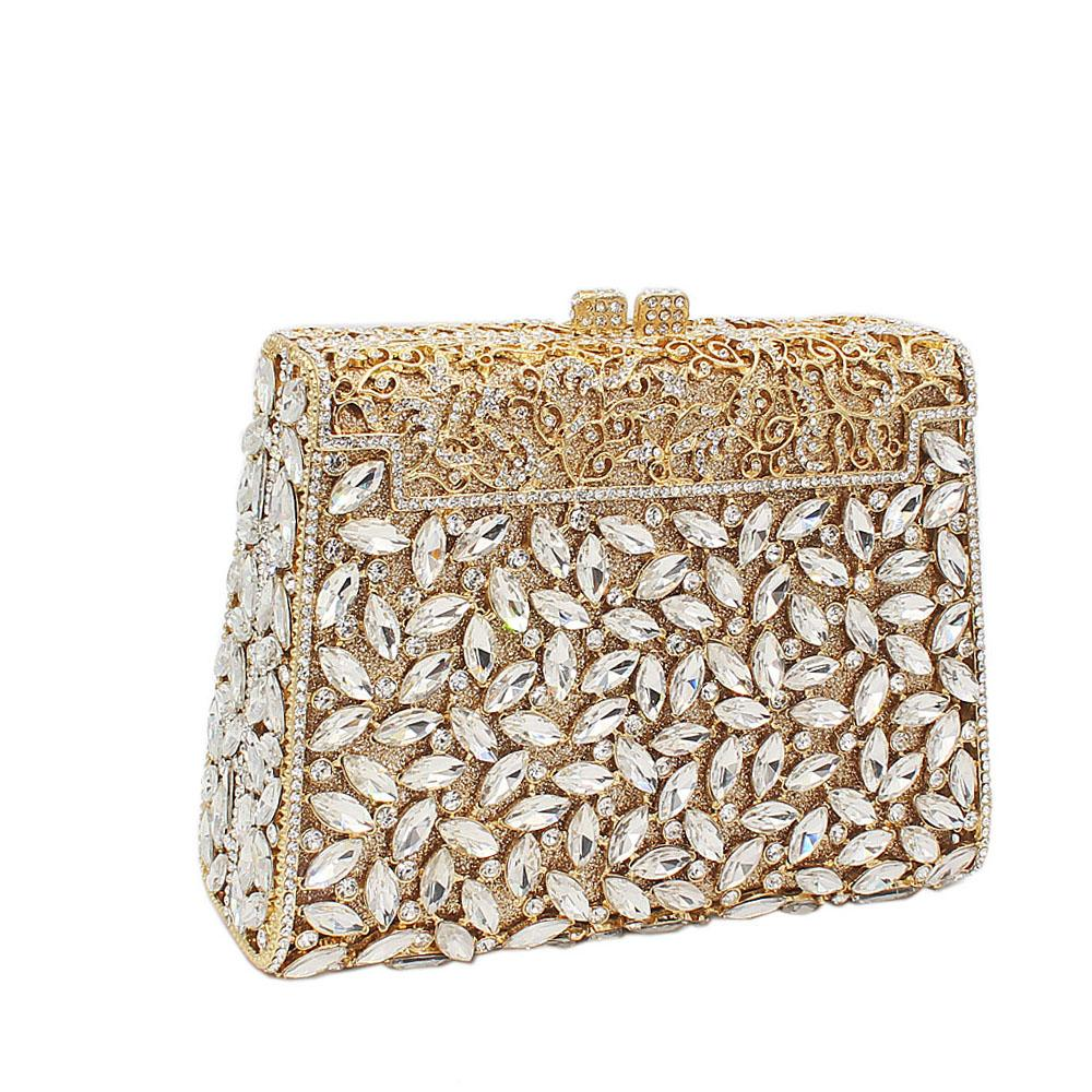 Gold Pearl Embelished Diamante Crystals Clutch Purse