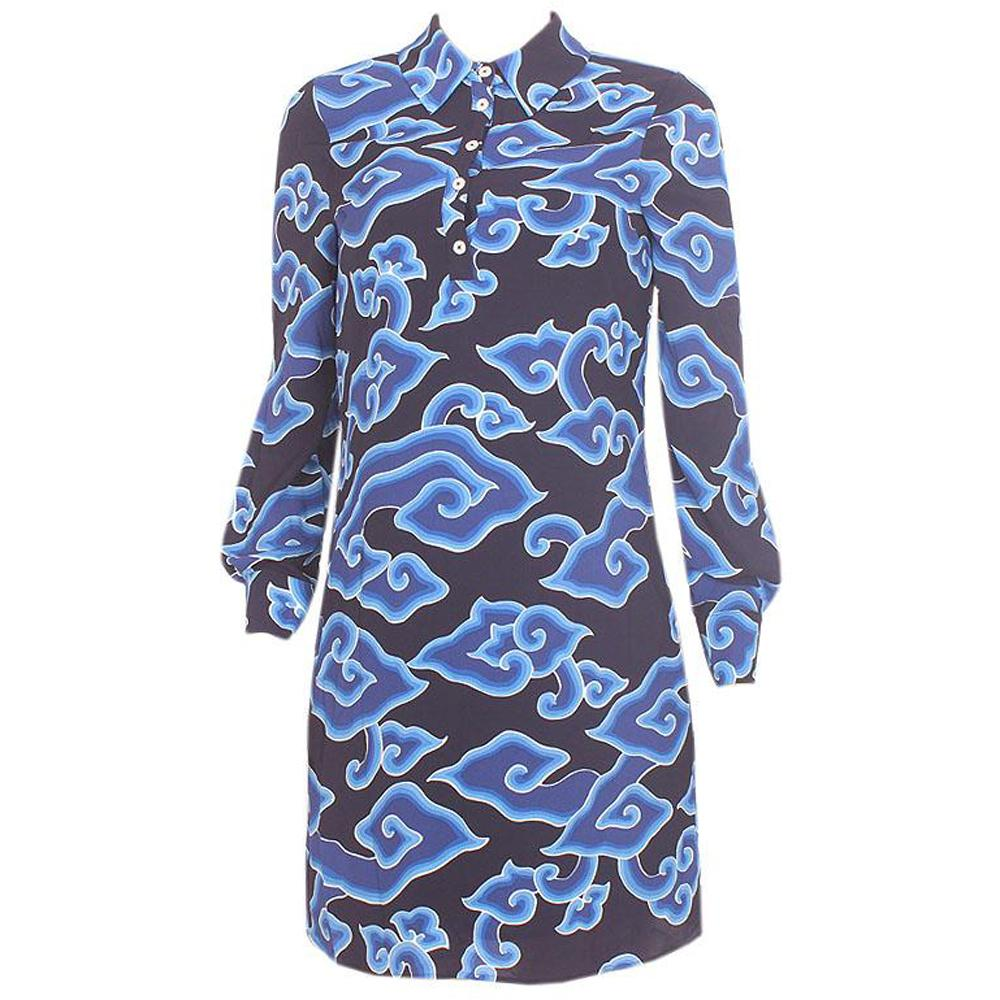 M&S Blue L/Sleeve Chiffon Dress