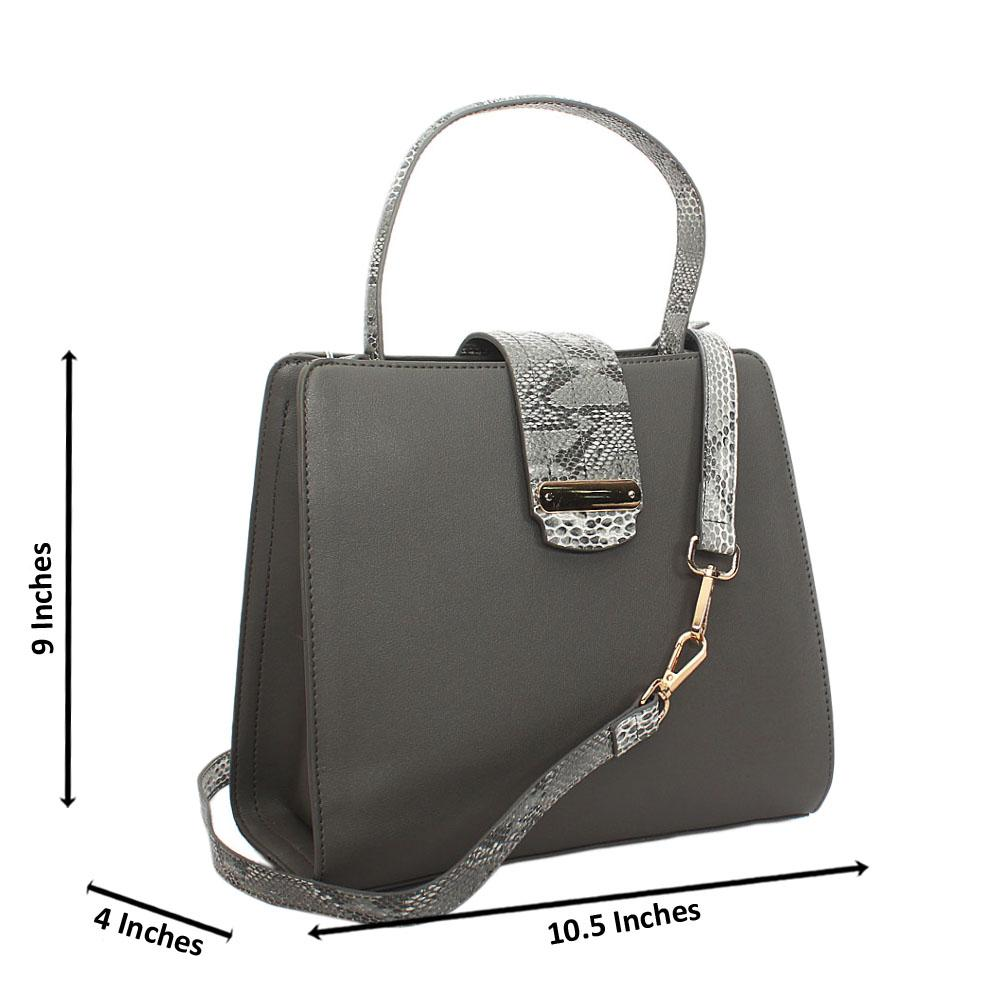 Gray Natalia Leather Small Top Handle Handbag