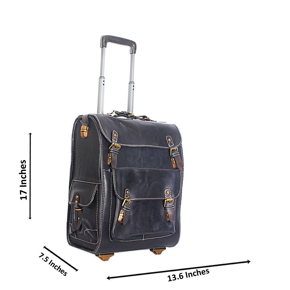Black Italian Leather Carry on Trolley Bag
