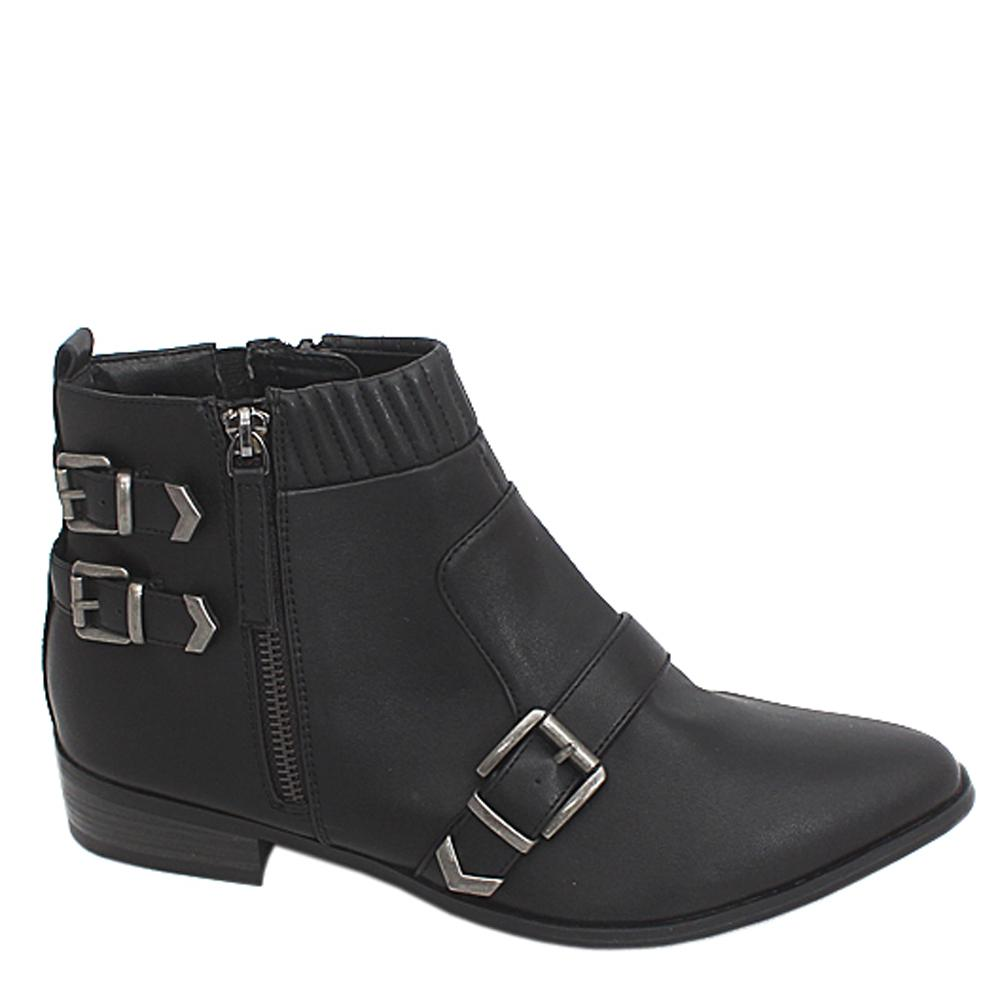 M & S Collection Black Buckle Design Leather Ladies Ankle Boot