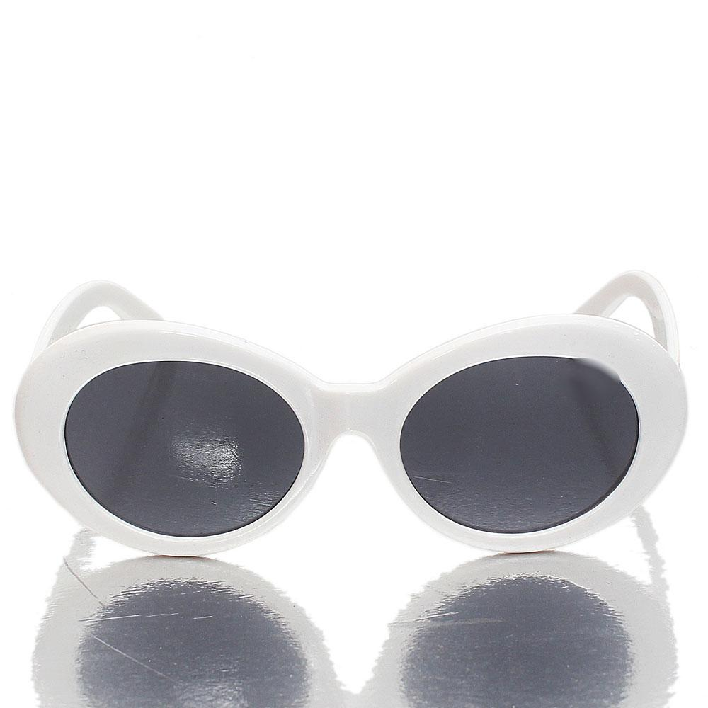 White Oval Dark Lens Sunglasses