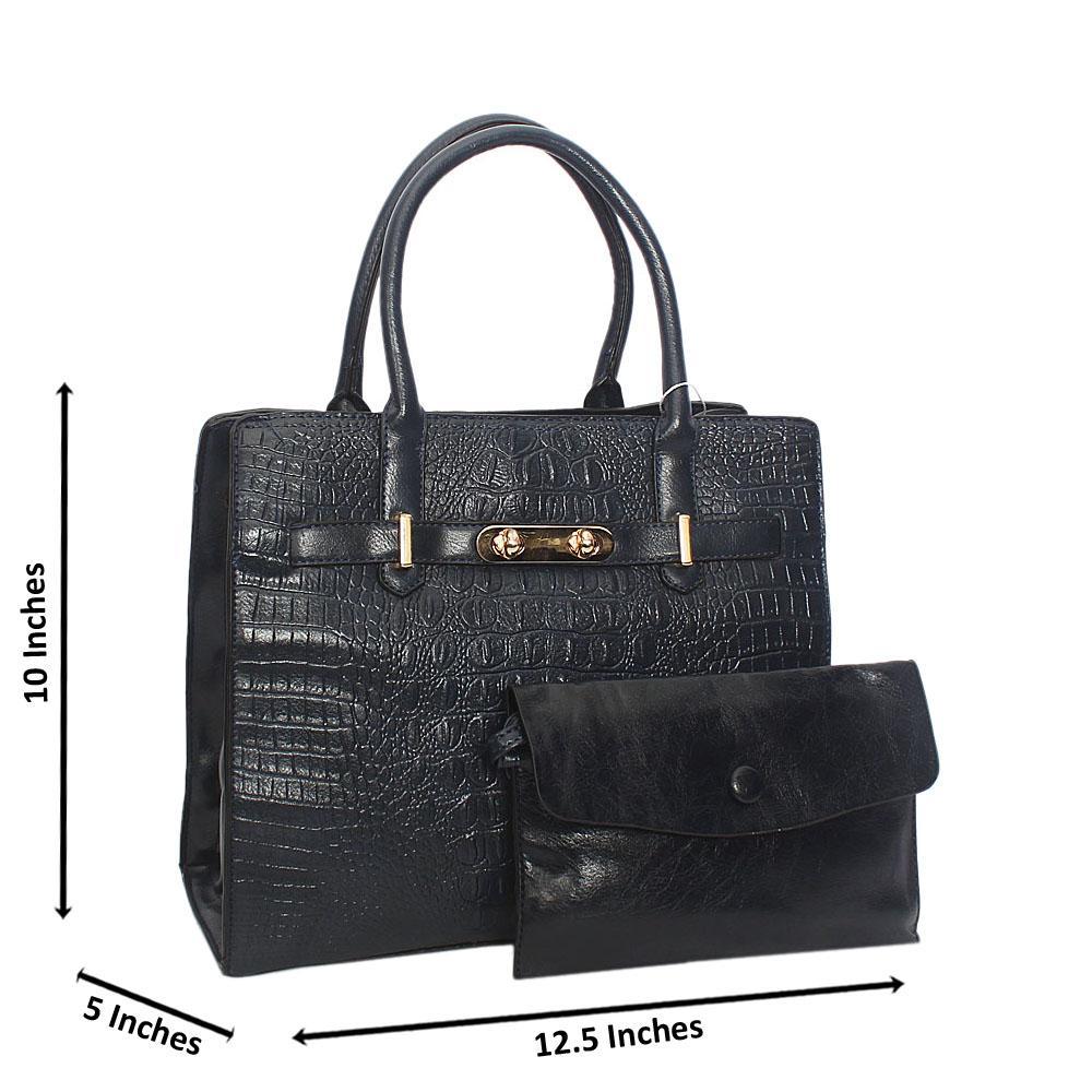 Navy Scarlett Croc Leather Tote Handbag