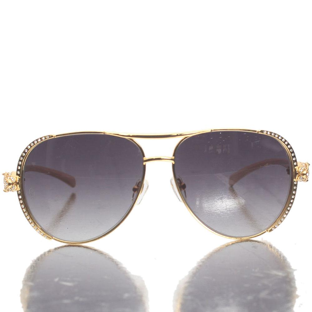 Gold Studded Dark Lens Aviator Sunglasses