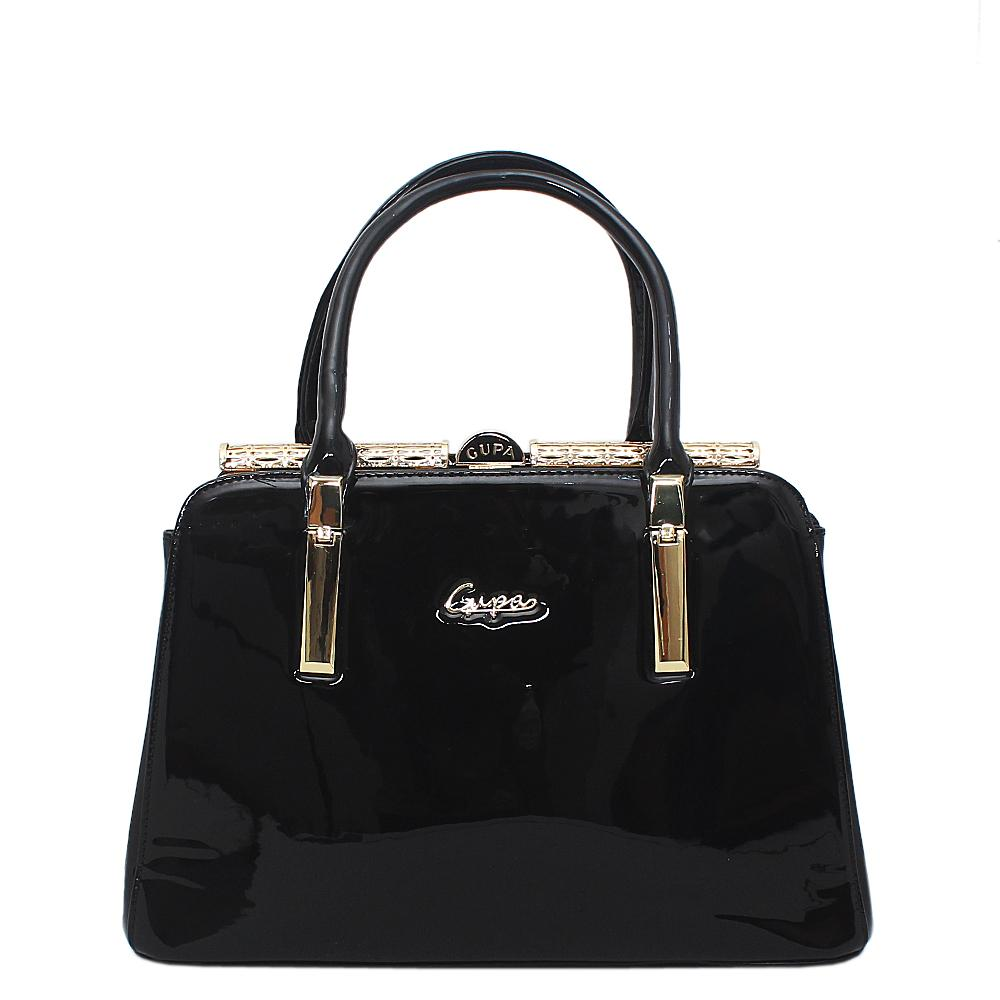 Black Patent Leather Tote Bag