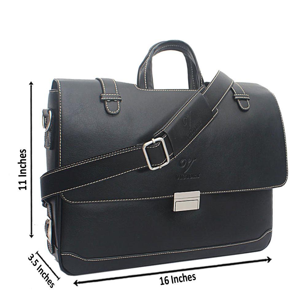 Black Morate Clip Leather Messenger Bag