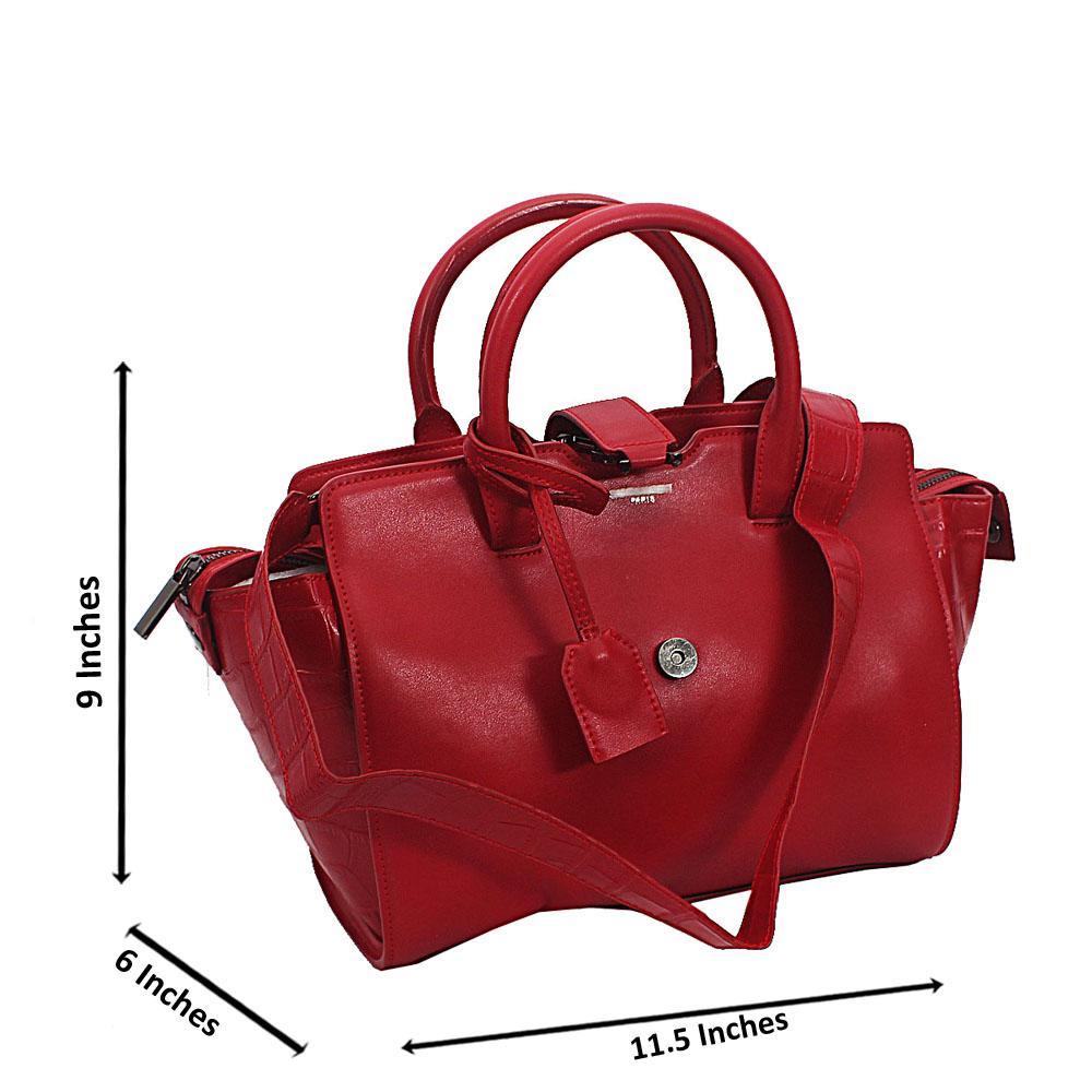 Red Saffiano Leather Tote Handbag