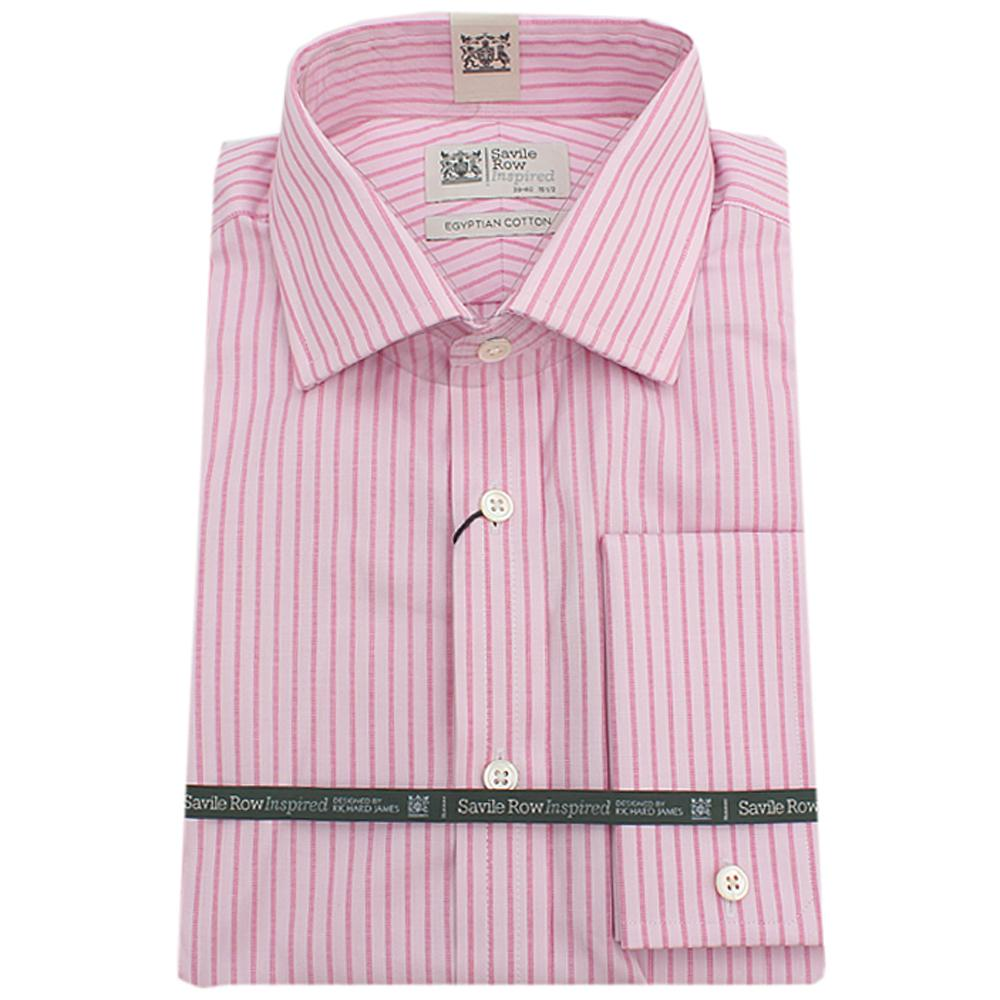 Savile Row Inspired Pink L/Sleeve Men Shirt Wt Cuffs