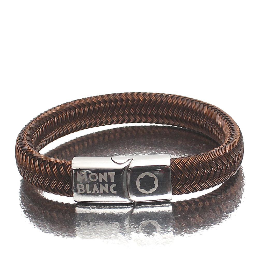 Mont Blanc Coffee Twill Silver Bracelet