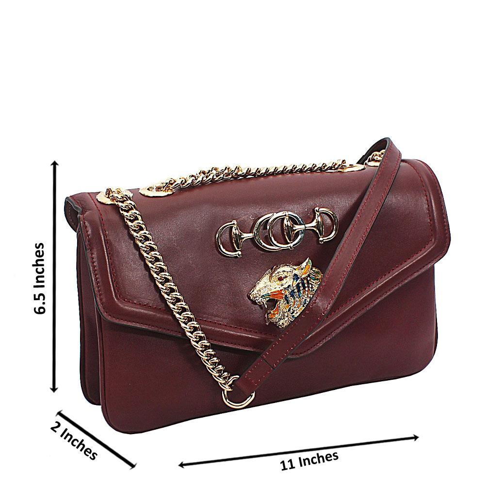 Purple Croc Saffiano Leather Chain Crossbody Handbag (Slight Display Scratc
