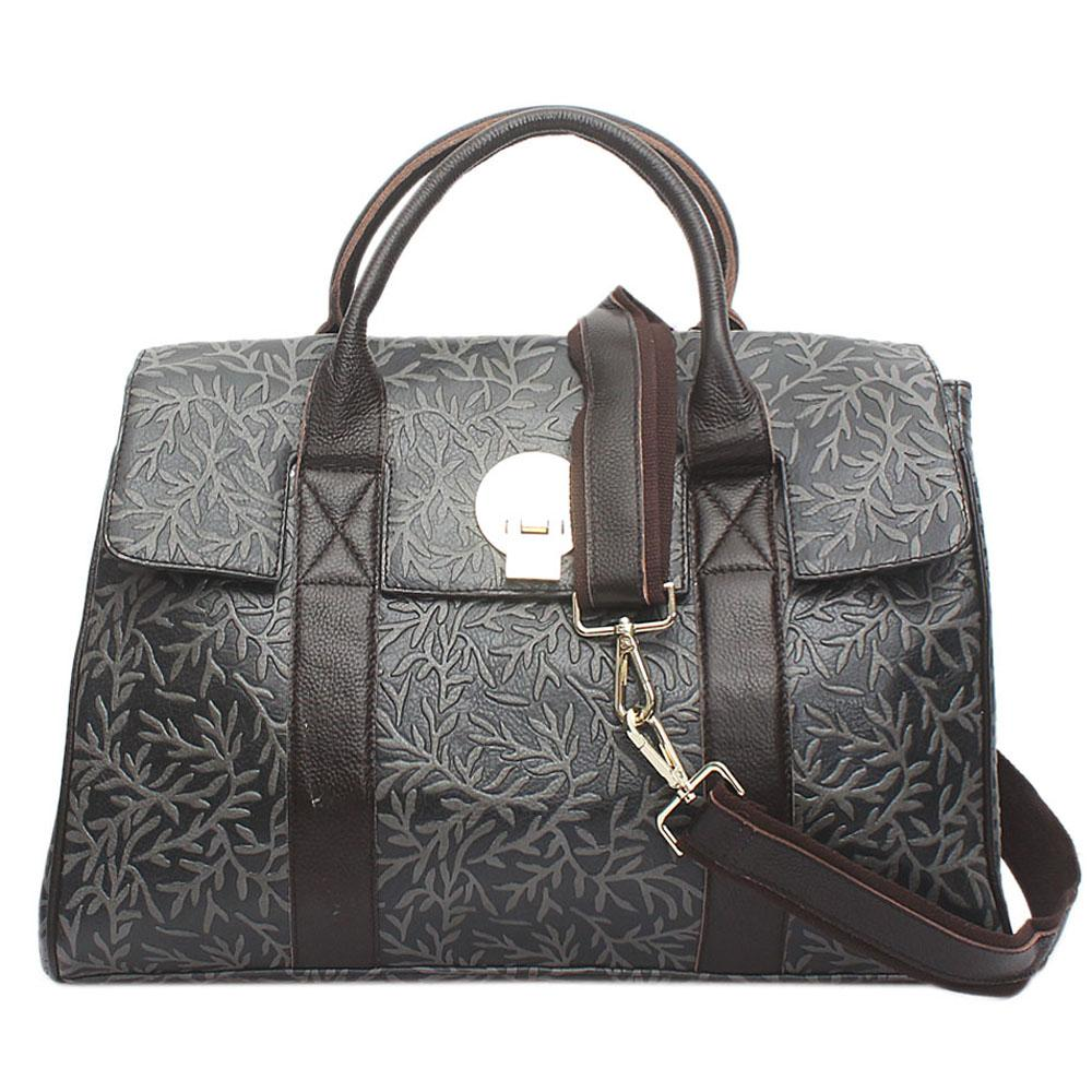 Saint Grey Black Brown Leather Traveling Bag