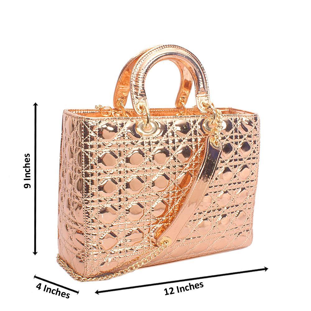 Rose Gold Patent Leather Medium Tote Handbag