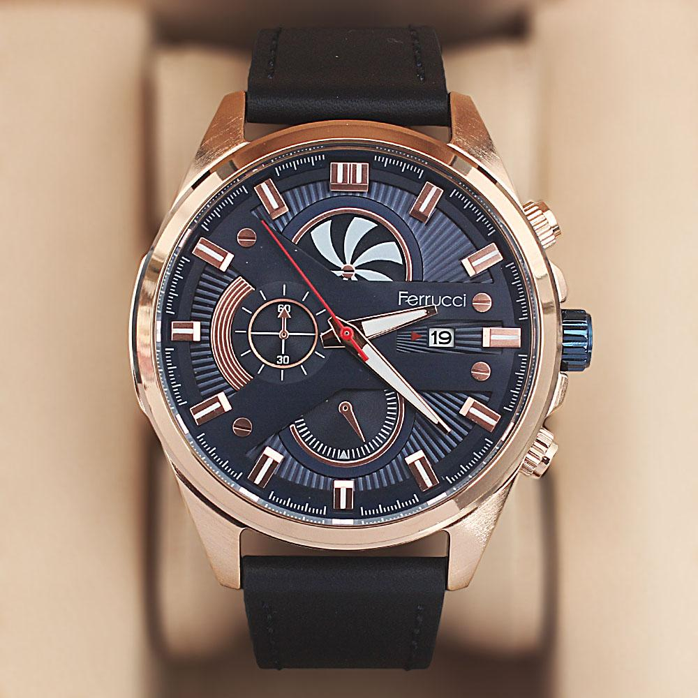 Ferrucci Speiral Navy Leather Watch