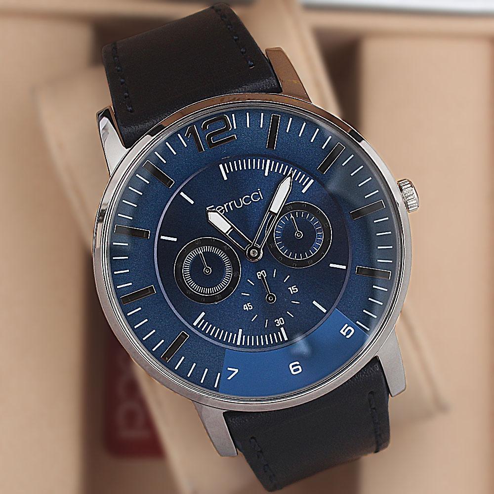 Ferrucci Platini Stainless Steel Black Leather Fashion Watch
