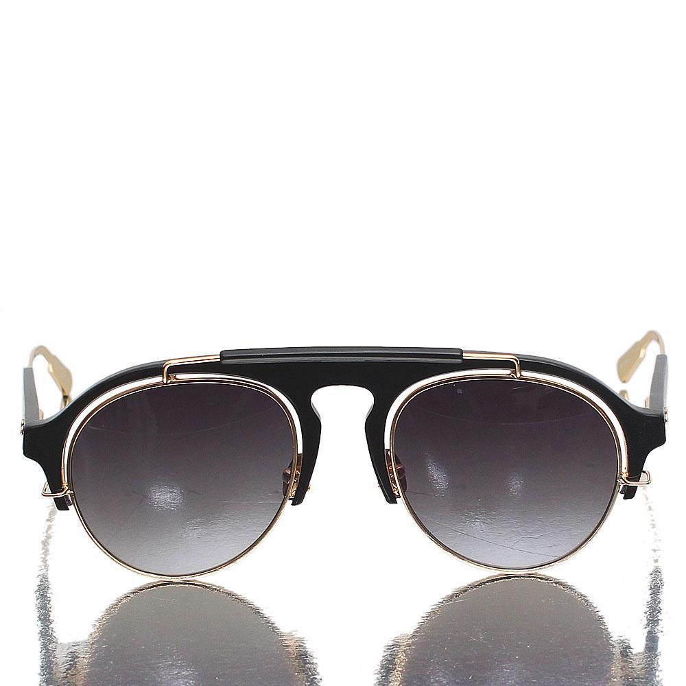 Gold Black Aviator Dark Lens Sunglasses